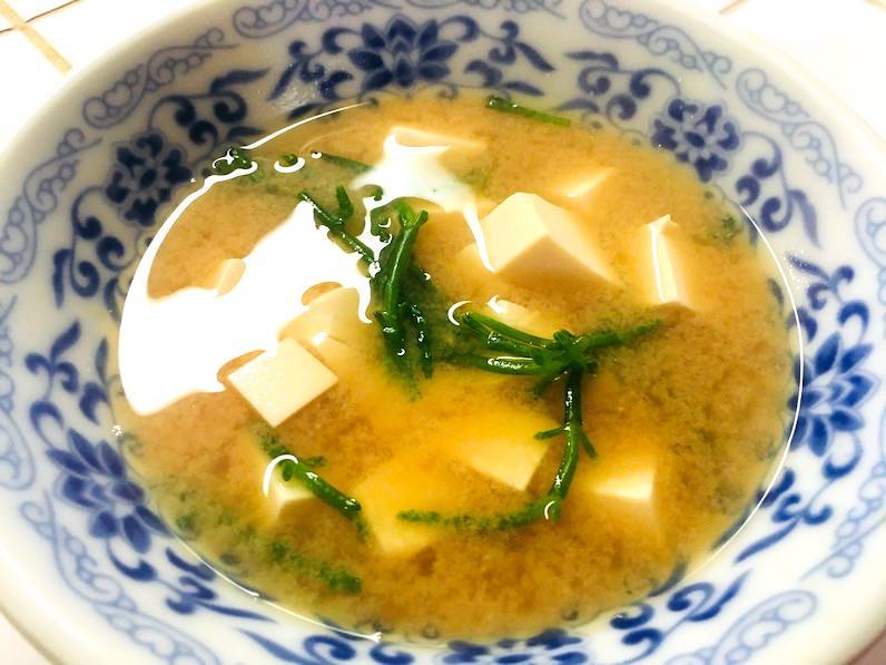 シーアスパラガスの味噌汁