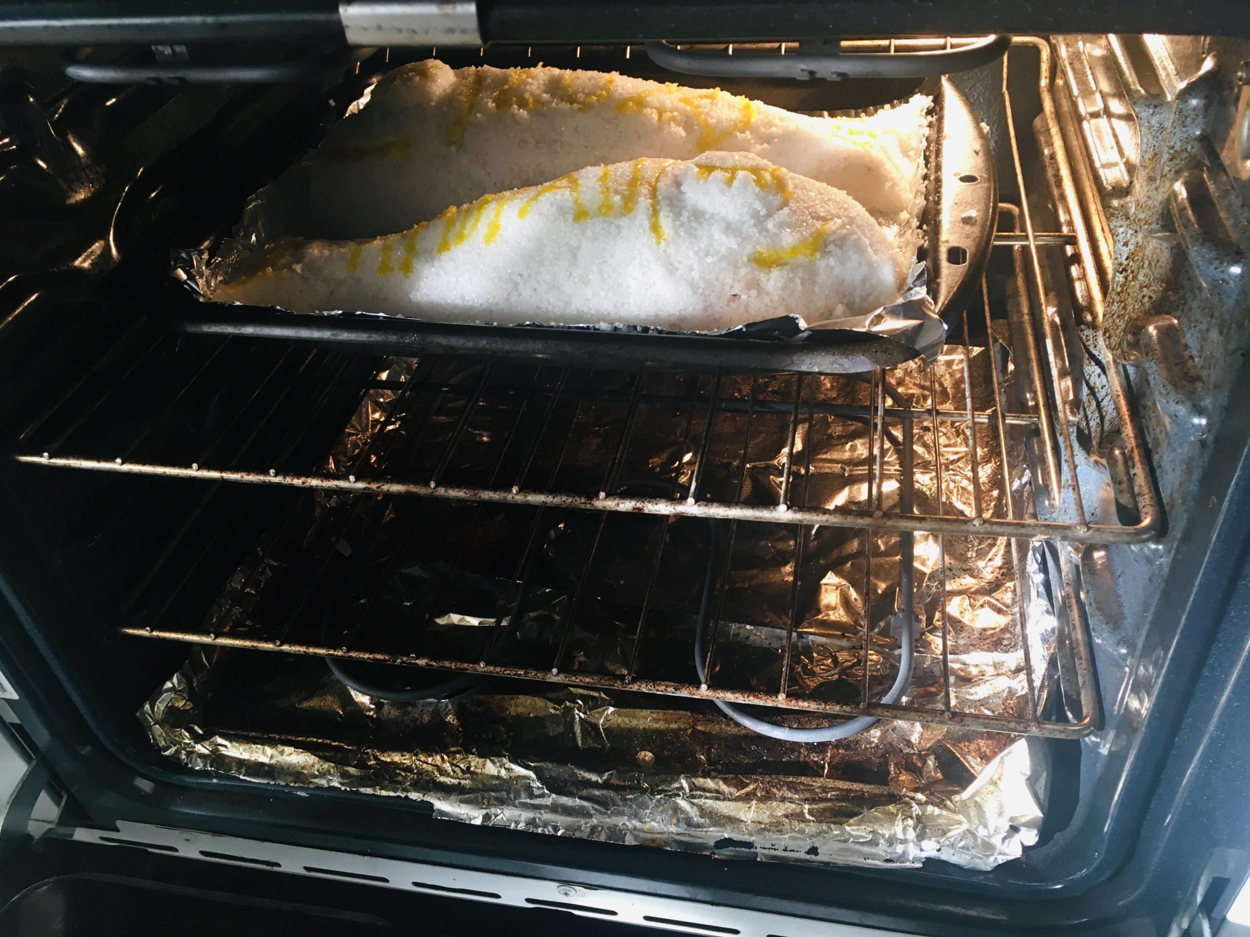 鯛塩釜焼きオーブンへ