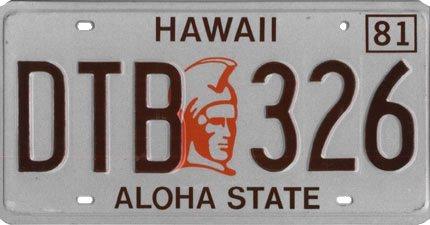 ハワイナンバープレート1981〜90年