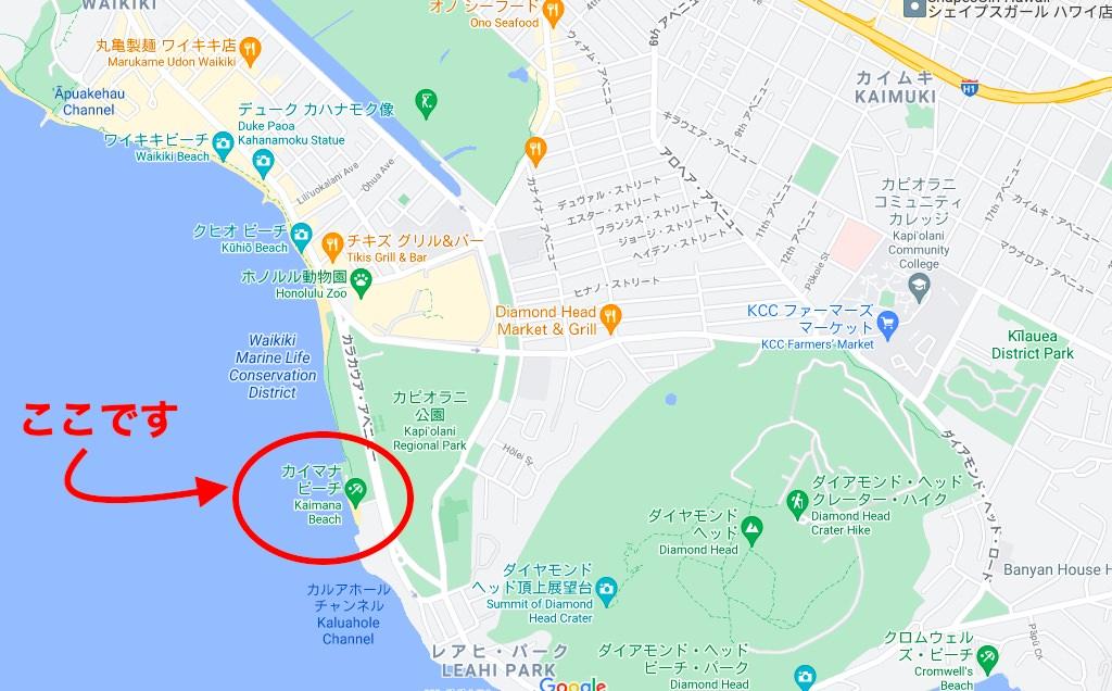 ワイキキ、カイマナビーチの位置の地図