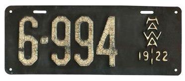 ハワイナンバープレート1922年