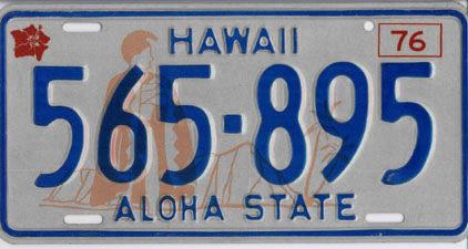 ハワイナンバープレート1976–80年